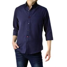 (フラグオンクルー) FLAG ON CREW メンズ ハンパ袖 7分袖シャツ オックスフォードシャツ / C3G / M カラーボタン・ネイビー