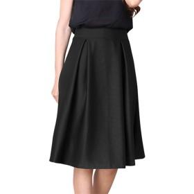[MONFUTUR(モンフチュール)] スカート 膝丈 タック フレア デザイン レディース ブラック L
