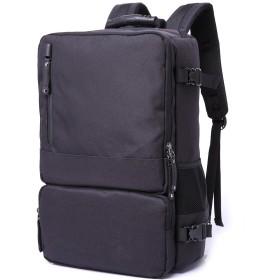 MINIBA リュックサック 3way仕様 トートバッグ ショルダーバッグ 柔らかいナイロン 布製 17インチPC収納可 メンズ ビジネスバッグ パソコン鞄 通学通勤 旅行出張 (ブラック)