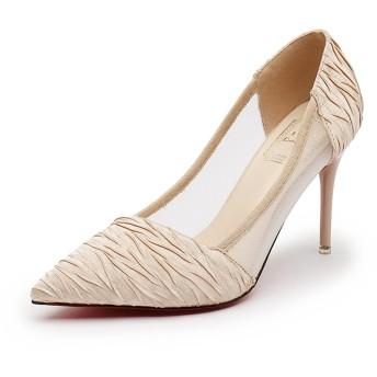 [ファイン・ショップ] ピンヒール パンプス レディース 9.0cmヒール OL風 美脚 歩きやすい 履きやすい 安定感ある シンプル ベーシック フォーマル 通勤・パーティ・冠婚葬祭など ベージュ 22.0-24.5cm