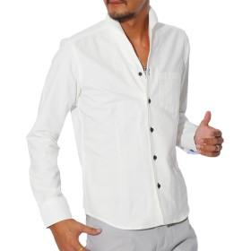 LUX STYLE(ラグスタイル) シャツ メンズ イタリアンカラー トップス コットン 無地 ホワイトM