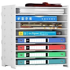 Rerii 書類ケース レターケース 8段 浅型 書類棚 キューブボックス 書類整理 ファイル 木製 ホワイト 幅362639cm A4