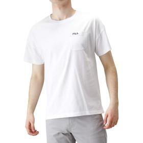 FILA(フィラ) ワンポイント刺繍Tシャツ 半袖Tシャツ クルーネック ドロップショルダー FH7521 メンズ ホワイト:XL