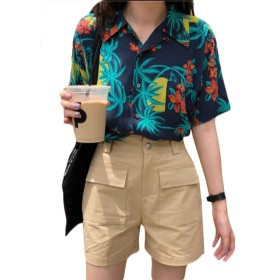 [ミートン] アロハシャツ レディース シャツ ブラウス ワイシャツ ハワイ風 花柄 プリント 夏 五分袖 ビーチ ゆったり カジュアル 写真通りF