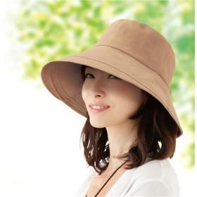 綿100%つば広UV帽子 - セシール ■カラー:ベージュ