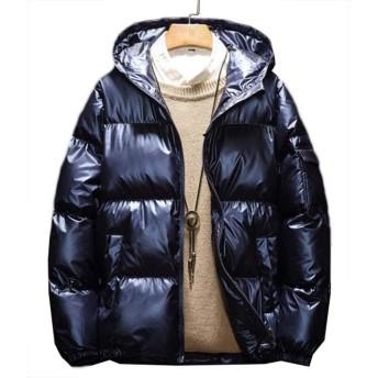 [ミートン] ダウンジャケット メンズ ダウンコート グリッター ブルゾン アウター 中綿コート ショート丈 厚手 防寒 冬服 フード付き ジッパー ブルー3XL
