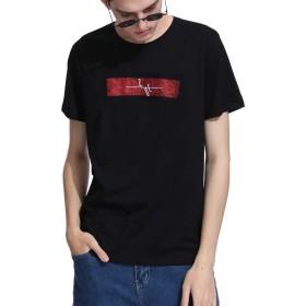 半袖tシャツ メンズ カットソー トップス クルーネック 半袖 刺繍tシャツ 創意デザイン メンズ大きいサイズ ゆったりシャツ 通勤 通学