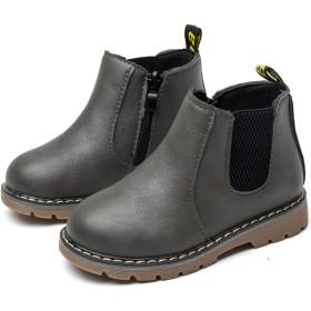 [ジャクシボー] キッズ ブーツ 男の子 女の子 ショートブーツ 裏ボア 防寒 レザー 防水 滑り止め 子供 フォーマル 靴 グレー 21