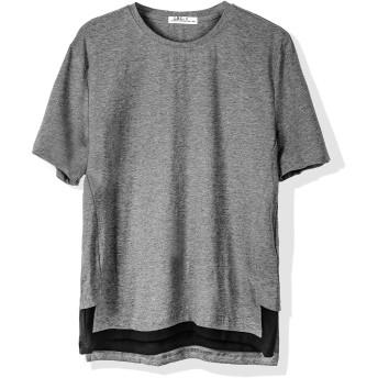 Tシャツ メンズ 半袖 カットソー 無地 ゆったり おおきいサイズ ロング丈 薄手 ポリエステル 涼しい 丸首 カジュアル グレー