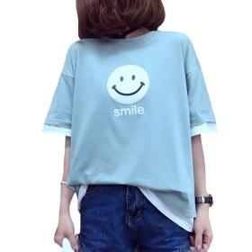 S-XINY Tシャツ レディース 半袖 綿 無地 五分袖 ゆったり かわいい 春 夏 おしゃれ 体型カバー トップス (グリン, L)