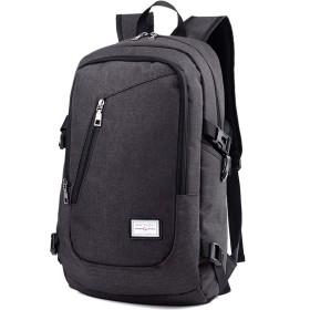 リュック リュックサック PCリュック ビジネスリュック メンズ ビジネスバッグ USB充電口付き 多機能 男女兼用 高校生 グレー (ブラック)