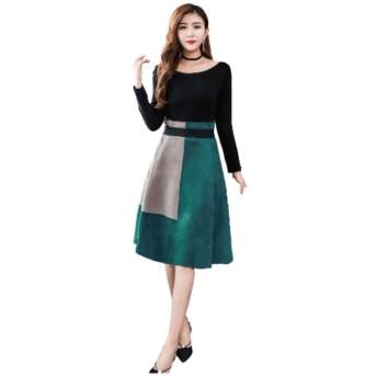 (パンプ アップ) PUMP UP ワンピース 着やせ 長袖 ひざ丈スカート バイカラー S〜L レディース (グリーン, M)
