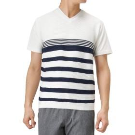 Real Standard(リアルスタンダード) マエミゴロニットキリカエTシャツ 半袖Tシャツ クルーネック サマーニット 92-7203P-RM メンズ ホワイト×ネイビー:S