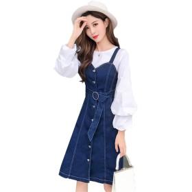 (グードコ) サロペットスカート レディース デニム ジャンパースカート かわいい オールインワン Aライン リボン付き カジュアル 着痩せブルー L