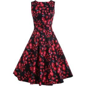 (ジアグー)Zeagoo レディース ワンピース ドレス Aライン ノースリーブ リボンベルト付 花柄 結婚式 パーティー 大きいサイズ対応