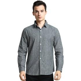 Goodid ワイシャツ ストライプ Yシャツ おしゃれ シンプル カジュアル 長袖 メンズ(M,グレー)