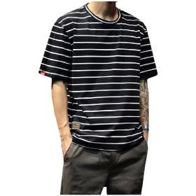 Romancly メンズ半袖ストライププラスサイズリラックスラウンドネックTシャツトップ Black L