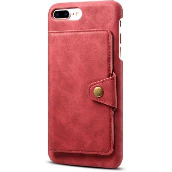 LNOBERN 復古レザーケース 対応 背面手帳型ケース iPhone 7Plus/8Plus兼用 バック手帳 ケース 7Plus/8Plus ケース カバー スタンド 財布型 7プラス/8プラス ケース カバー スタンド機能付き (For iPhone7plus/8plus, レッド)
