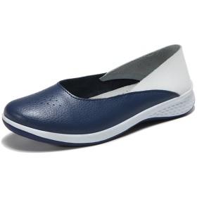 Sunlane レディース 大きいサイズ モカシン 靴 本革 ローファー スリッポン ローヒール カジュアル パンプス 運転靴 ドライビングシューズ ナースシューズ 安全靴 作業靴 介護士 履きやすい 通気性 疲れにくい 痛くない ネイビー 25.0cm