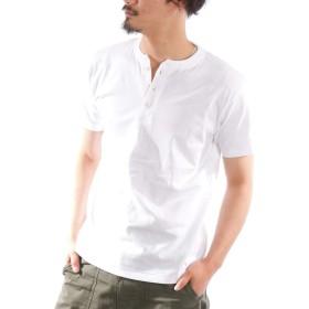 ヘンリーネックTシャツ メンズ 半袖 厚手 無地 白 黒 グレー 紺 カーキ 春 夏 半袖Tシャツ カットソー お洒落 カジュアル ユニセックス 男女兼用 レディース対応 ホワイト LL