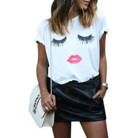 Fashionwu 女性 ファッション クリエイティブ まつ毛 レッドリップ プリント Tシャツ シャツ カジュアル ブラウス トップス