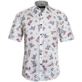 APTRO(アプトロ)半袖シャツ メンズ 花柄 プリント ハワイアン柄 フローラル ラダー ヨットファンション ハワイ ラペル アロハシャツ APT1020 S