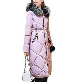 【もうほうきょう】 レディース綿入りのコート ロングコート 膝下コート 厚手コート ファーコート 冬コート ダウンコート (ピンク, XL)
