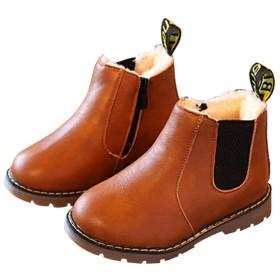 [ジャクシボー] キッズ ブーツ 男の子 女の子 ショートブーツ 裏ボア 防寒 レザー 防水 滑り止め 子供 フォーマル 靴 ブラウン(裏ボア) 32