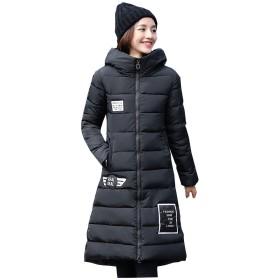 (チーアン)Tiann レディース 中綿ジャケット ロング丈 防寒 コート 大きいサイズ フード付き ゆったり ジャケット 厚手 防風 冬 ダウンコート かわいい ブラック L