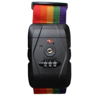 DABADA(ダバダ) スーツケースベルト ダイヤル式 TSAロック付き (レインボー, TSAロックタイプ)