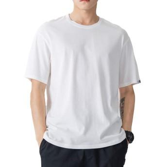 メンズ tシャツ 半袖 夏服 コットン 大きいサイズ 無地 メリヤス 丸首 速乾 吸汗性 柔らかい 通気性抜群 (ホワイト, 3XL)
