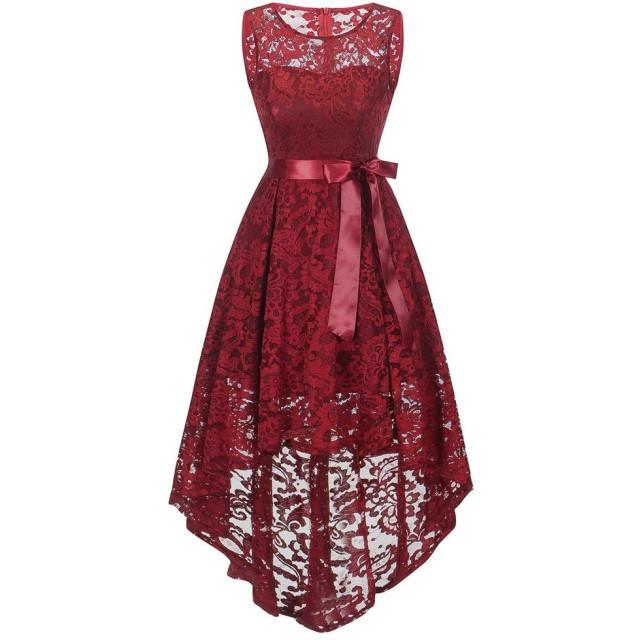 女性のドレス、三番目の店 レディーズ 披露宴 忘年会 正式の 結婚式 花嫁 花嫁介添人 プリンセスドレス Oネック パーティー ワンピース スカート ノースリーブ レディース レース ドレス