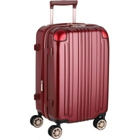 [アウトレット品]【レジェンドウォーカー】LEGEND WALKER スーツケース ファスナータイプ ダブルキャスター 鏡面ボディ TSAロック 軽量 機内持込サイズ B-5122-48 ワインレッド