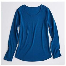 [nissen(ニッセン)] UVカット 綿100% フライス素材クルーネック 長袖 Tシャツ レディース ブルーグリーン M
