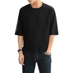 半袖 Tシャツ メンズ 半袖Tシャツ 無地 五分袖 メンズ カジュアル トップス おしゃれ カットソー 春 夏 黒 3XL