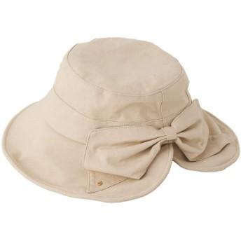 [スリーピングシープ] リネン混 コンビ リボン付き 折りたためる UV カプリーヌハット UVカット 夏 ハット UVカット 帽子 レディース (ベージュ2)