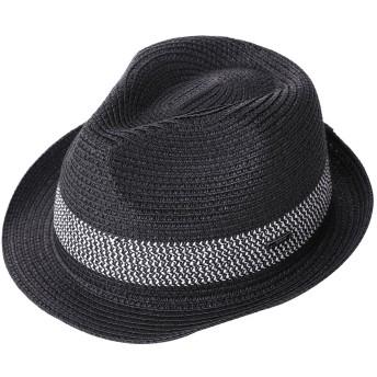 麦わら 帽子 ハット メンズ 夏用 中折れハット ストローハット 紳士帽子 パナマハット パナマ帽 57 58 59cm 黒