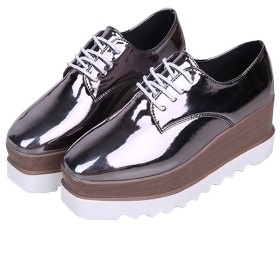 [スピナス] レディース 厚底 ローファー オックスフォード おじ靴 エナメルシューズ レースアップ シャークソール マニッシュ靴 3色