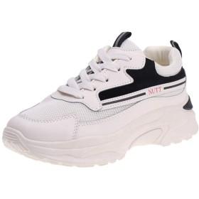 [AcMeer] スニーカー 厚底靴プラットフォーム レディース マニッシュ スポーティー レースアップ メッシュ カジュアル 日常着用 ランニング 運動靴 学校 通勤 身長アップ 黒 赤 人気白