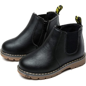 [ジャクシボー] キッズ ブーツ 男の子 女の子 ショートブーツ 裏ボア 防寒 レザー 防水 滑り止め 子供 フォーマル 靴 ブラック 22