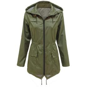 YACUN レディース防水ジャケットフード雨コート屋外レインコート Green XL