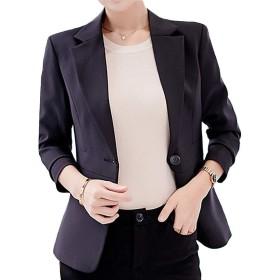 [ロイヤルパイン] テーラードジャケット レディース 春 秋 長袖 シングルボタン オフィス カジュアル ブレザー (XL,ブラック)