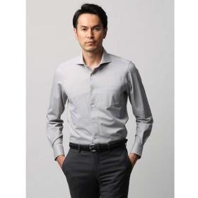 カジュアルシャツ/メンズ/JAPAN FABRIC/COOL MAX/織柄 ホリゾンタルカラージャージーシャツ ライトグレー×ホワイト