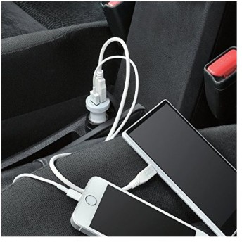 ELECOM シガーチャージャー USB ダブルポート 2.4A出力 2ポート iPhone6s/6s Plus対応 ホワイト MPA-LCCDU2