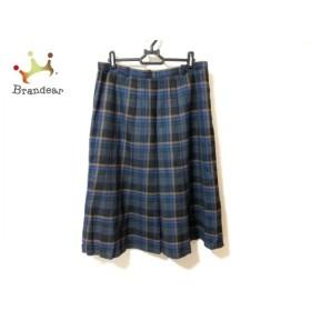 レリアン Leilian スカート サイズ13+ S レディース 美品 黒×ブルー×マルチ チェック柄  値下げ 20191009