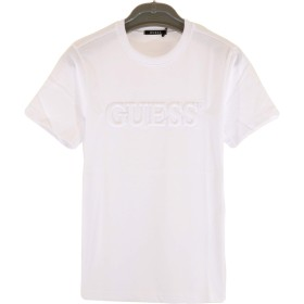 GUESS(ゲス) 半袖 Tシャツ エンボス ロゴ クルーネック MJ2K8503MI ブラック・ホワイト・ブルー (L, ホワイト)