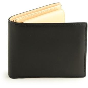 [アビエス] ABIES L.P. イタリアンレザー 植物タンニンなめし革 二つ折り財布(小銭入れあり) 牛革 財布 メンズ ブラック