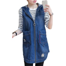 YACUN レディース デニムベスト 袖なしのジャケット トップス ロング チョッキ かわいい おしゃれ ブルー XL
