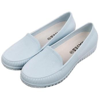 Spinas(スピナス) レディース レインシューズ モカシン ローファー シンプル パンプス フラットヒール 雨靴 長靴 全4色 (ブルー、37)