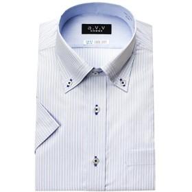 (アーヴェヴェ)a.v.v HOMME メンズワイシャツ 半袖 スリムフィット ワイドカラー マイターカラー ボタンダウン 形態安定加工 吸水速乾 [451-LL]